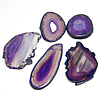 Ice Quartz Agate Pendants, Mixed shape, purple color, 47-83mm,25-50mm, Hole:Approx 2MM, Sold by PC