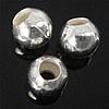 925 Sterling Silver Beads, Round, argjend praruar vërtetë, 2.50x2.20mm, : 1.2mm, 200PC/Qese,  Qese