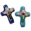 Beads filigran Cloisonne, Kryq, 14x18x5mm, : 1mm, 100PC/Qese,  Qese
