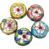 Beads filigran Cloisonne, Round Flat, 16x7mm, : 1mm, 60PC/Qese,  Qese