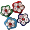 Beads filigran Cloisonne, Lule, asnjë, 15.50x7mm, : 1.5mm, 100PC/Qese,  Qese