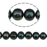 Runde Süßwasser Zuchtperlen, Natürliche kultivierte Süßwasserperlen, natürlich, schwarz, Grade A, 9-10mm, Bohrung:ca. 0.8mm, verkauft per 14 ZollInch Strang