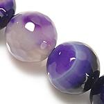 Natürliche violette Achat Perlen, Violetter Achat, rund, facettierte & Streifen, 14mm, Bohrung:ca. 1.2-1.5mm, Länge:ca. 14.5 ZollInch, 5SträngeStrang/Menge, verkauft von Menge