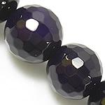 Natürliche violette Achat Perlen, Violetter Achat, rund, facettierte, 14mm, Bohrung:ca. 1.2-1.5mm, Länge:ca. 15 ZollInch, 5SträngeStrang/Menge, verkauft von Menge
