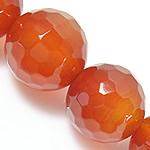 Natürlich rote Achat Perlen, Roter Achat, rund, facettierte, 8mm, Bohrung:ca. 0.8-1mm, Länge:ca. 15 ZollInch, 5SträngeStrang/Menge, verkauft von Menge