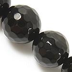 Beads Natyrore Zi agat, Black agat, Round, asnjë, faceted, Një, 12mm, : 1.5-2mm, : 15Inç, 5Fillesat/Shumë,  Shumë