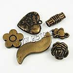 Beads akrilik të përziera, Shape përziera, Ngjyra antike bronz i praruar, asnjë, asnjë, 11-49mm, : 1-4mm,  Qese