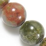 Beads Unakite, Round, natyror, 4mm, : 1mm, : 15.5Inç, 10Fillesat/Shumë,  Shumë