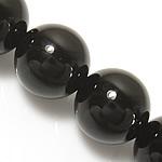 schwarzer Diamant Perle, rund, synthetisch, 6mm, Bohrung:ca. 0.8mm, Länge:ca. 15 ZollInch, 10SträngeStrang/Menge, ca. 60PCs/Strang, verkauft von Menge