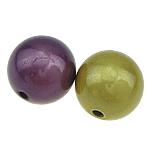 Beads ABS plastike, Round, ngjyra të përziera, 12mm, : 2mm, 250PC/Qese,  Qese