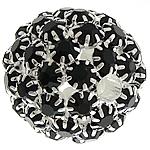 Strass Messing Perlen, rund, silberfarben plattiert, ohne troll & mit Strass & hohl, schwarz, frei von Nickel, Blei & Kadmium, 26mm, Bohrung:ca. 4.8mm, verkauft von PC