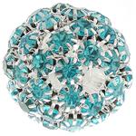Strass Messing Perlen, rund, silberfarben plattiert, ohne troll & mit Strass & hohl, Türkisblau, frei von Nickel, Blei & Kadmium, 26mm, Bohrung:ca. 4.8mm, verkauft von PC