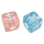 Beads ABS plastike, Kub, ngjyra të përziera, 10x10mm, : 4mm, 550PC/Qese,  Qese
