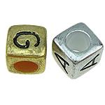 Beads ABS plastike, Kub, ngjyrë ari praruar, ngjyra të përziera, 6x6mm, : 3.5mm, 2322PC/Qese,  Qese