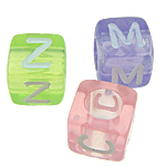 Beads ABS plastike, Kub, ngjyra të përziera, 6x6mm, : 3.5mm, 2600PC/Qese,  Qese
