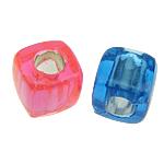 Beads ABS plastike, Kub, ngjyra të përziera, 8x8mm, : 4mm, 1700PC/Qese,  Qese
