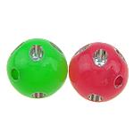 Beads ABS plastike, Round, ngjyra të përziera, 10x10mm, : 1.5mm, 1100PC/Qese,  Qese