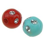 Beads ABS plastike, Round, ngjyra të përziera, 8x8mm, : 2mm, 2300PC/Qese,  Qese