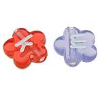 Beads ABS plastike, Lule, ngjyra të përziera, 11x4mm, : 2mm, 1000PC/Qese,  Qese