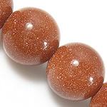 Beads Goldstone, Round, natyror, 14mm, : 1.5mm, : 15.5Inç, 5Fillesat/Shumë,  Shumë
