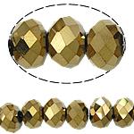 Rondell Kristallperlen, Kristall, AA grade crystal, metallische Farbe plattiert, 3x4mm, Bohrung:ca. 1mm, Länge:ca. 18.5 ZollInch, 10SträngeStrang/Tasche, verkauft von Tasche
