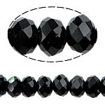 Rondell Kristallperlen, Kristall, AA grade crystal, Jet schwarz, 6x8mm, Bohrung:ca. 1.5mm, Länge:ca. 17 ZollInch, 10SträngeStrang/Tasche, ca. 72PCs/Strang, verkauft von Tasche