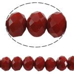 Rondelle Beads Crystal, Kristal, imitim kristal Swarovski, rubin, 6x8mm, : 1.5mm, :16Inç, 10Fillesat/Qese,  Qese