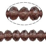 Rondell Kristallperlen, Kristall, AA grade crystal, mittler Amethyst, 8x10mm, Bohrung:ca. 1.5mm, Länge:22 ZollInch, 10SträngeStrang/Tasche, verkauft von Tasche