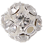 Strass Messing Perlen, rund, Gestell, mit Strass, Silberfarbe, frei von Nickel, Blei & Kadmium, 6x7mm, Bohrung:ca. 1mm, 100PCs/Tasche, verkauft von Tasche