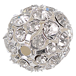 Strass Messing Perlen, rund, silberfarben plattiert, mit Strass, frei von Nickel, Blei & Kadmium, 20mm, Bohrung:ca. 3mm, 20PCs/Tasche, verkauft von Tasche