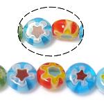 Millefiori Glass Beads, Round Flat, ngjyra të përziera, 6x6x3.2-3.5mm, : 1mm, : 14.5Inç, 10Fillesat/Shumë,  Shumë