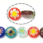 Millefiori Glass Beads, Round Flat, ngjyra të përziera, 10x10x3.8-4mm, : 1mm, : 14.5Inç, 10Fillesat/Shumë,  Shumë