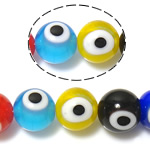 Böser Blick Lampwork Perlen, blöser Blick, gemischte Farben, 10mm, Bohrung:ca. 1mm, Länge:ca. 14 ZollInch, 10SträngeStrang/Menge, verkauft von Menge