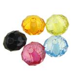 Beads transparente akrilik, Rondelle, i tejdukshëm, ngjyra të përziera, 8x5.50mm, : 1mm, 2890PC/Qese,  Qese