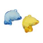 Pendants akrilik, Kafshë, i tejdukshëm, ngjyra të përziera, 25x29x11mm, : 2.5mm, 120PC/Qese,  Qese