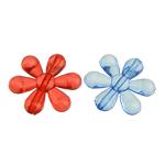 Beads transparente akrilik, Lule, i tejdukshëm, ngjyra të përziera, 22x24x5mm, : 1mm, 454PC/Qese,  Qese