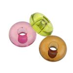 Beads transparente akrilik, Daulle, i tejdukshëm, ngjyra të përziera, 18x9mm, : 6mm, 272PC/Qese,  Qese
