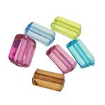 Beads transparente akrilik, Drejtkëndësh, i tejdukshëm, ngjyra të përziera, 9x11x7mm, : 2mm, 1207PC/Qese,  Qese