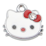 Animal Style Enamel Pendant, zinc alloy, hello kitty shape, 18x14mm, Hole:Approx 2MM, Sold by PC