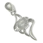 925 Sterling Silver varëse, argjend praruar vërtetë, me diamant i rremë, asnjë, 9x18.50x4mm, : 2x3.3mm, 10PC/Qese,  Qese