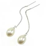 Një palë vathë Pearl ujërave të ëmbla, Pearl kulturuar ujërave të ëmbla, Lot, asnjë, e bardhë, 9x57mm, 10Çiftet/Qese,  Qese