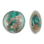 Goldsand Lampwork Perlen, flache Runde, grün, 20x10mm, Bohrung:ca. 2mm, 100PCs/Tasche, verkauft von Tasche
