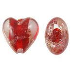 Goldsand Lampwork Perlen, Herz, rot, 20x20x13mm, Bohrung:ca. 1.5mm, 100PCs/Tasche, verkauft von Tasche