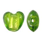 Silberfolie Lampwork Perlen, Herz, grün, 12x13x8mm, Bohrung:ca. 1.5mm, 100PCs/Tasche, verkauft von Tasche