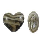 Innerer Twist Lampwork Perlen, Herz, braun, 28x26x15mm, Bohrung:ca. 3.5mm, 100PCs/Tasche, verkauft von Tasche