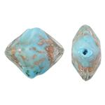 Goldsand Lampwork Perlen, Rhombus, blau, 24x20x12mm, Bohrung:ca. 1.5mm, 100PCs/Tasche, verkauft von Tasche