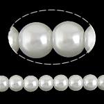 Glass Beads Pearl, Glass Pearl, Round, asnjë, e bardhë, 6mm, : 1mm, :31Inç, 140PC/Fije floku,  31Inç,