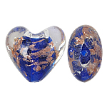 Goldsand Lampwork Perlen, Herz, blau, 20x20x13mm, Bohrung:ca. 2mm, 100PCs/Tasche, verkauft von Tasche