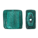 Silberfolie Lampwork Perlen, Quadrat, grün, 12x6mm, Bohrung:ca. 2mm, 100PCs/Tasche, verkauft von Tasche