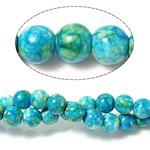 Regen Blumen Stein Perlen, rund, 6mm, Bohrung:ca. 0.8mm, Länge:ca. 15 ZollInch, 10SträngeStrang/Menge, ca. 60PCs/Strang, verkauft von Menge